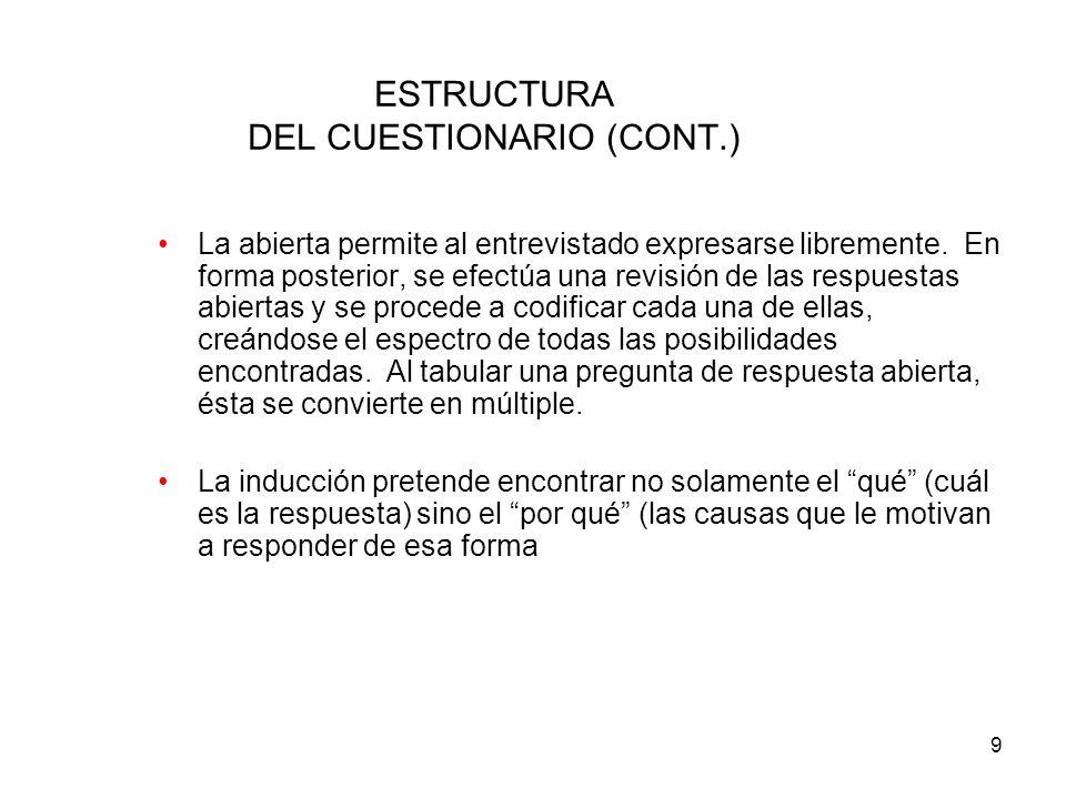 ESTRUCTURA DEL CUESTIONARIO (CONT.)