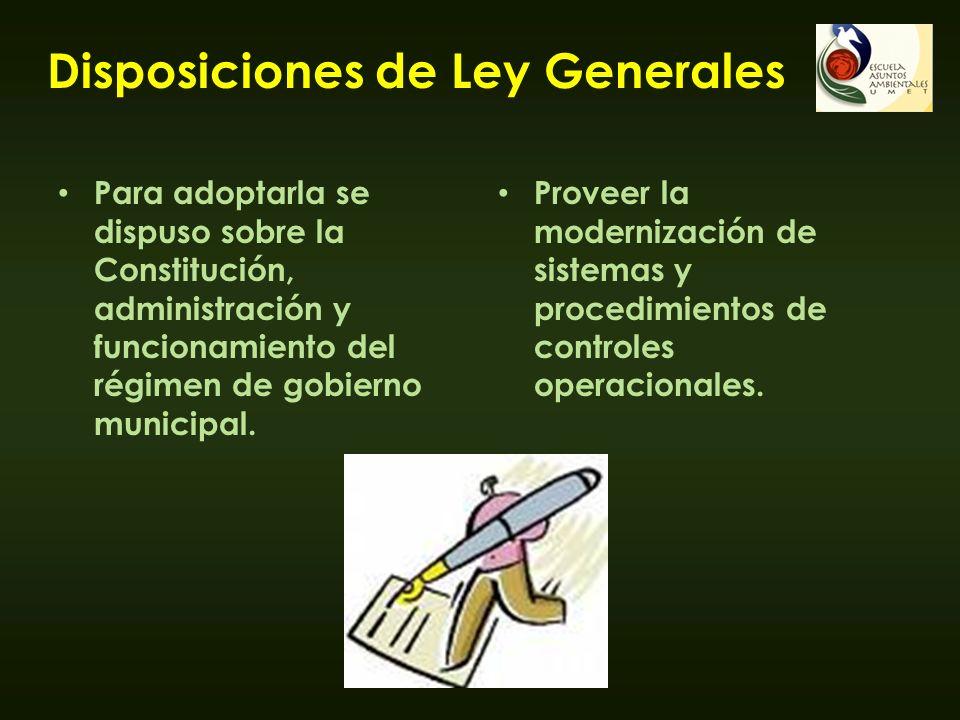 Disposiciones de Ley Generales