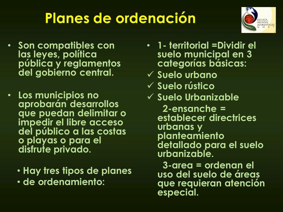 Planes de ordenación Son compatibles con las leyes, política pública y reglamentos del gobierno central.