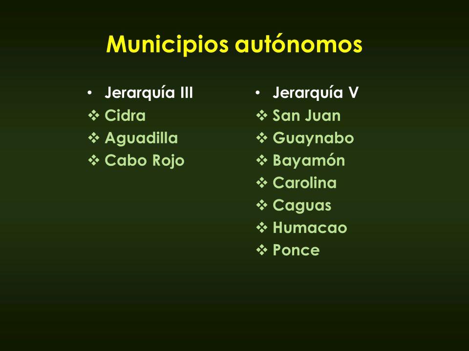 Municipios autónomos Jerarquía III Cidra Aguadilla Cabo Rojo