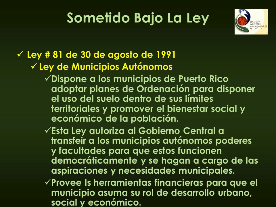 Sometido Bajo La Ley Ley # 81 de 30 de agosto de 1991