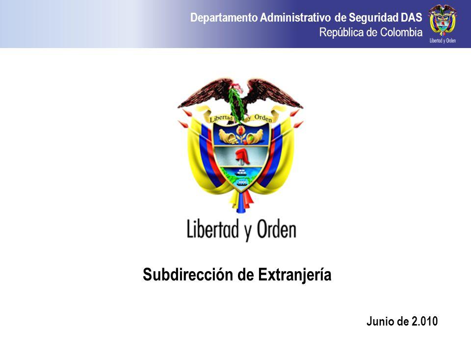 Subdirección de Extranjería Junio de 2.010
