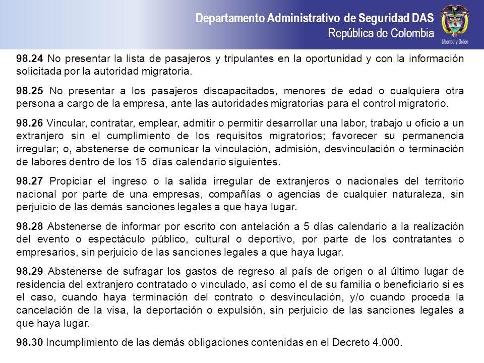 98.24 No presentar la lista de pasajeros y tripulantes en la oportunidad y con la información solicitada por la autoridad migratoria.