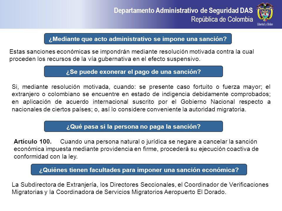 ¿Mediante que acto administrativo se impone una sanción