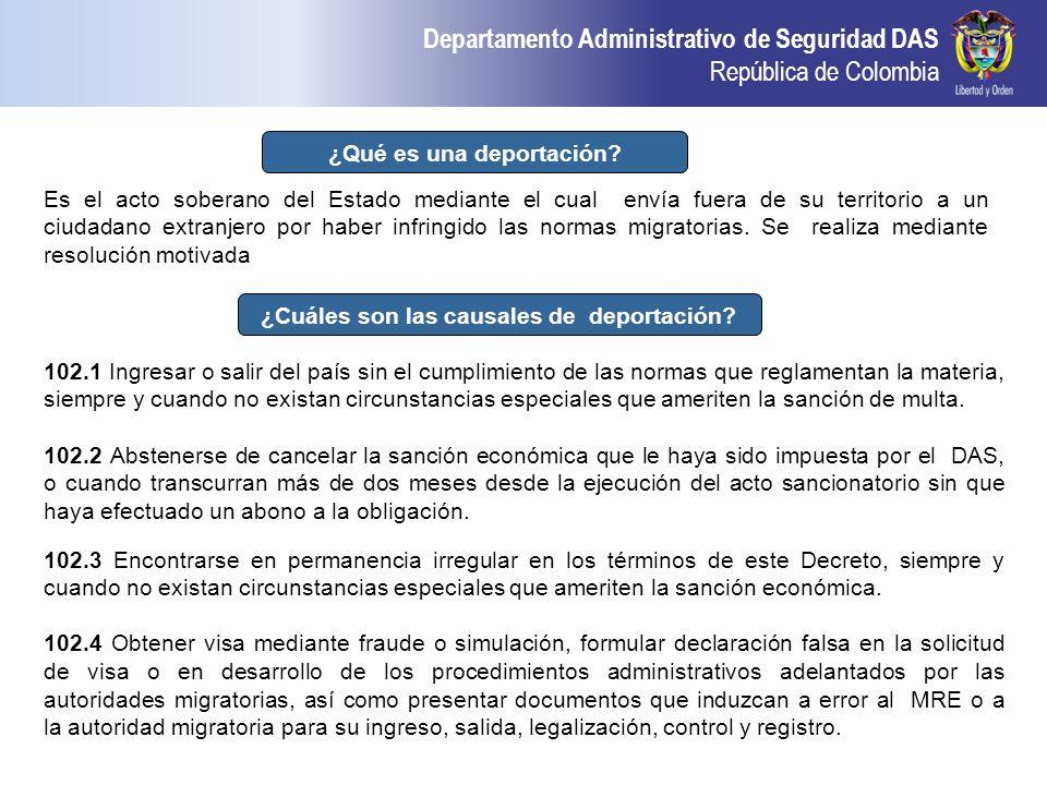 ¿Qué es una deportación ¿Cuáles son las causales de deportación