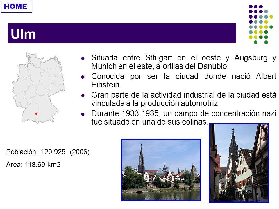 HOME Ulm. Situada entre Sttugart en el oeste y Augsburg y Munich en el este, a orillas del Danubio.