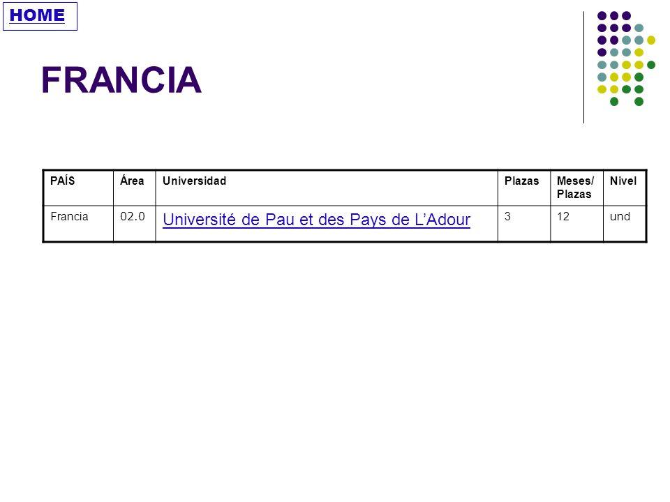 FRANCIA HOME Université de Pau et des Pays de L'Adour PAÍS Área