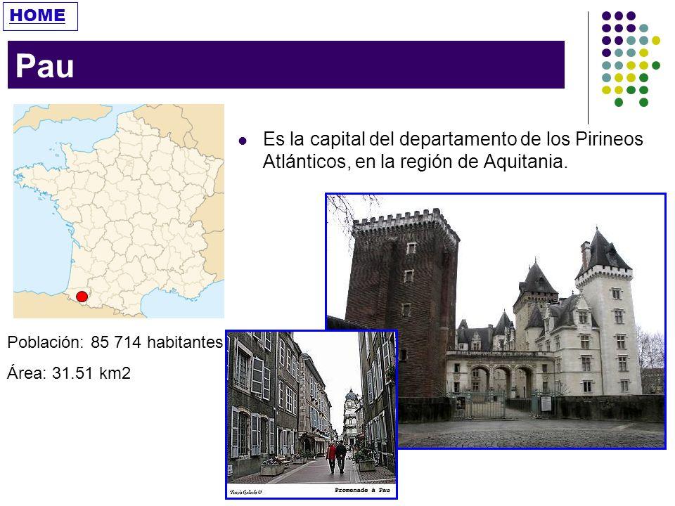 HOME Pau. Es la capital del departamento de los Pirineos Atlánticos, en la región de Aquitania. Población: 85 714 habitantes.