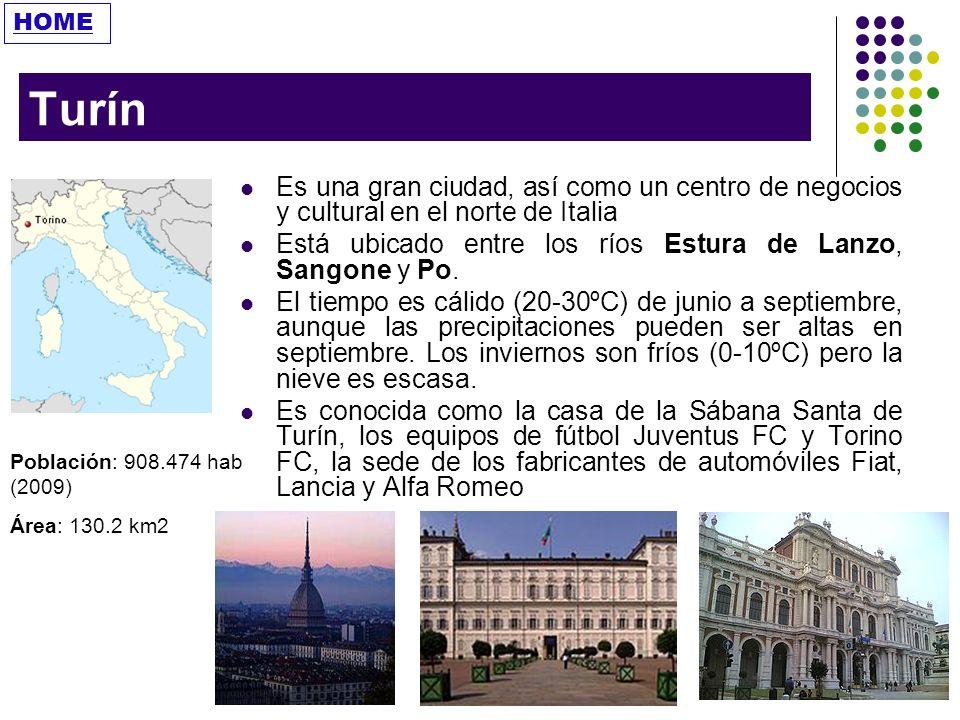 HOME Turín. Es una gran ciudad, así como un centro de negocios y cultural en el norte de Italia.