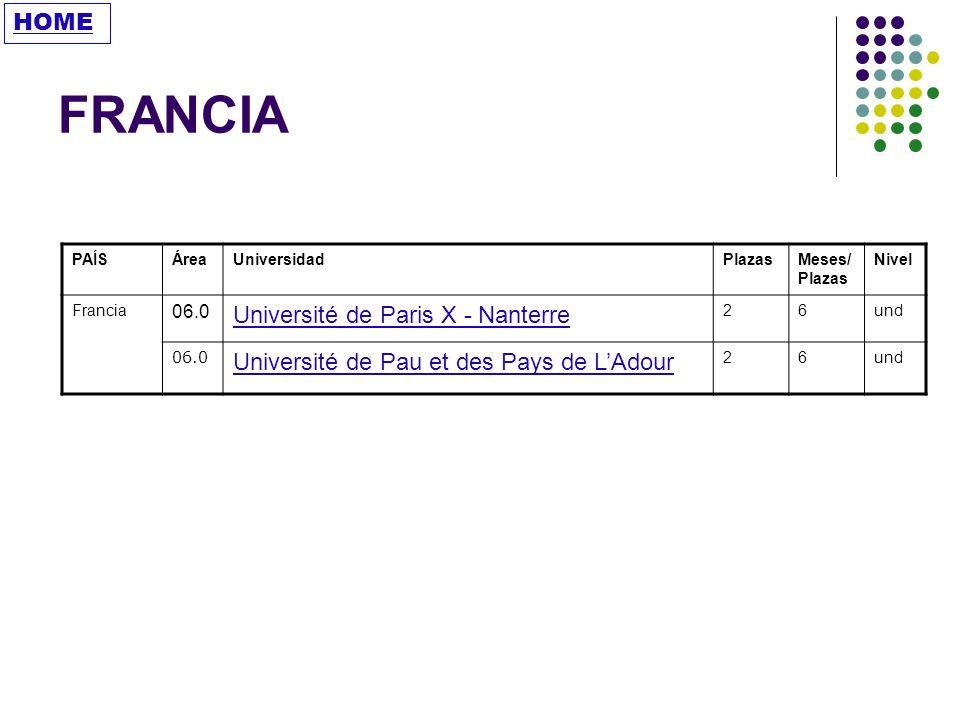 FRANCIA HOME Université de Paris X - Nanterre