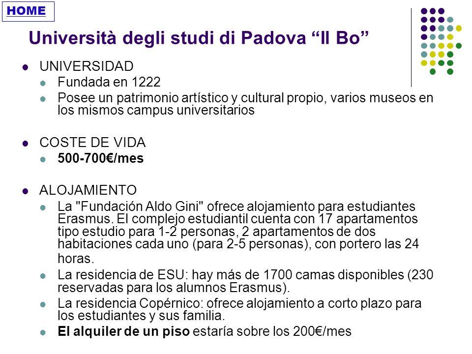 Università degli studi di Padova Il Bo