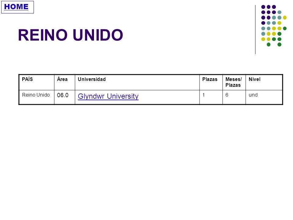 REINO UNIDO HOME Glyndwr University 06.0 PAÍS Área Universidad Plazas