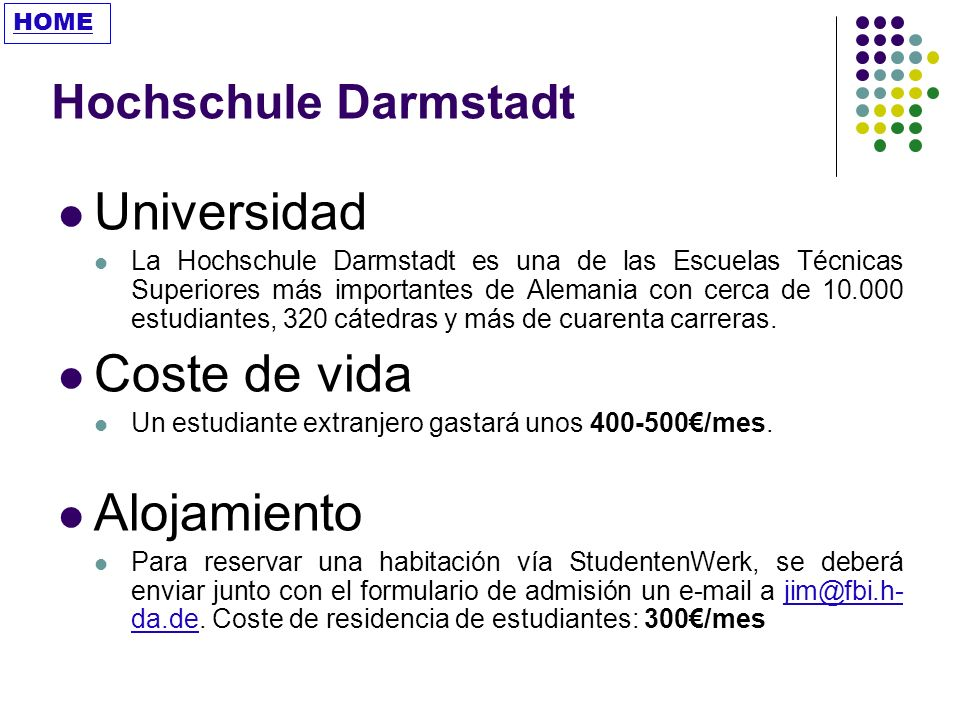 Universidad Coste de vida Alojamiento Hochschule Darmstadt