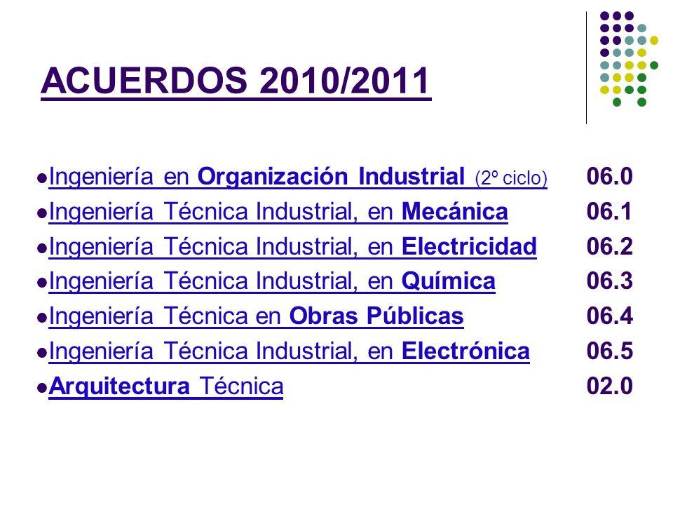 ACUERDOS 2010/2011 Ingeniería en Organización Industrial (2º ciclo)