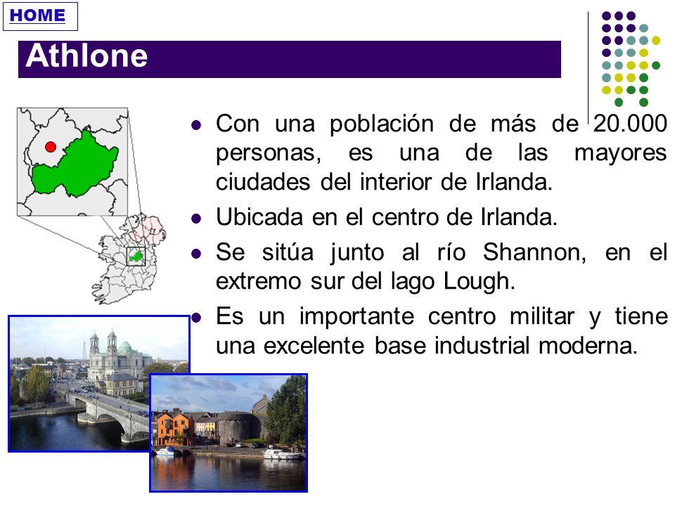 HOME Athlone. Con una población de más de 20.000 personas, es una de las mayores ciudades del interior de Irlanda.