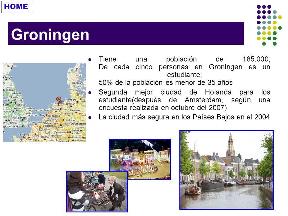HOME Groningen. Tiene una población de 185.000; De cada cinco personas en Groningen es un estudiante; 50% de la población es menor de 35 años.