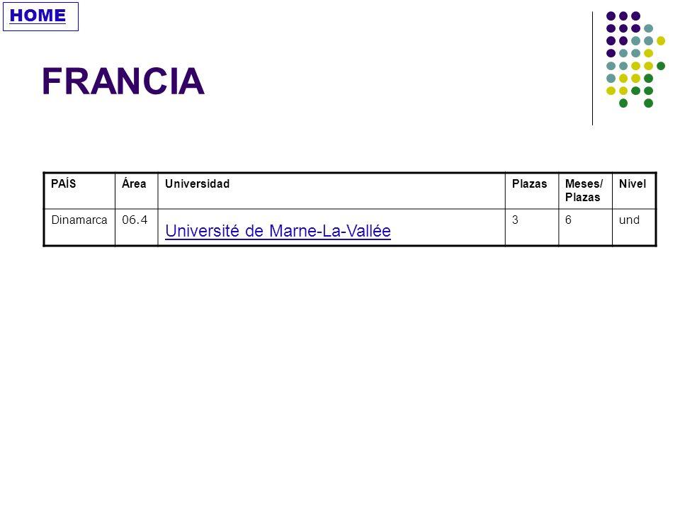 FRANCIA HOME Université de Marne-La-Vallée PAÍS Área Universidad