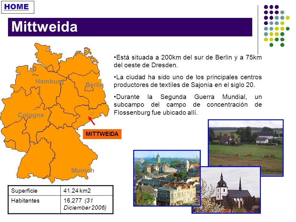 HOME Mittweida. Berlin. Hamburg. Munich. Cologne. MITTWEIDA. Está situada a 200km del sur de Berlin y a 75km del oeste de Dresden.