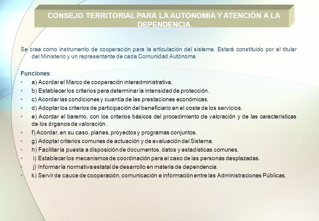 CONSEJO TERRITORIAL PARA LA AUTONOMIA Y ATENCIÓN A LA DEPENDENCIA