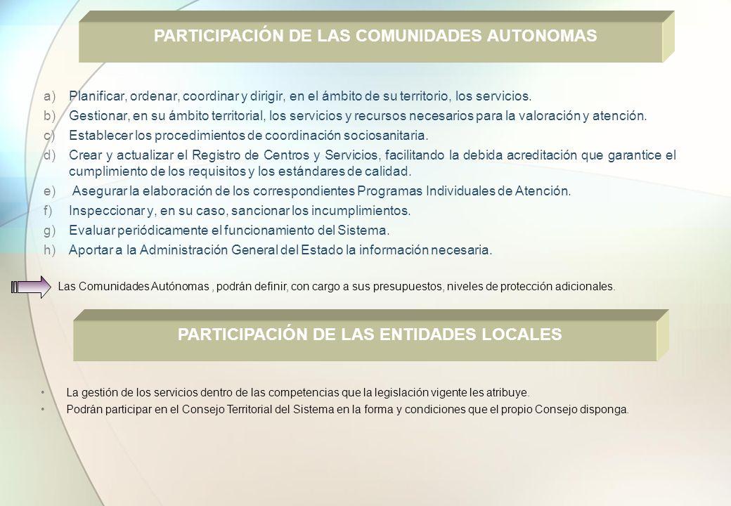 PARTICIPACIÓN DE LAS COMUNIDADES AUTONOMAS