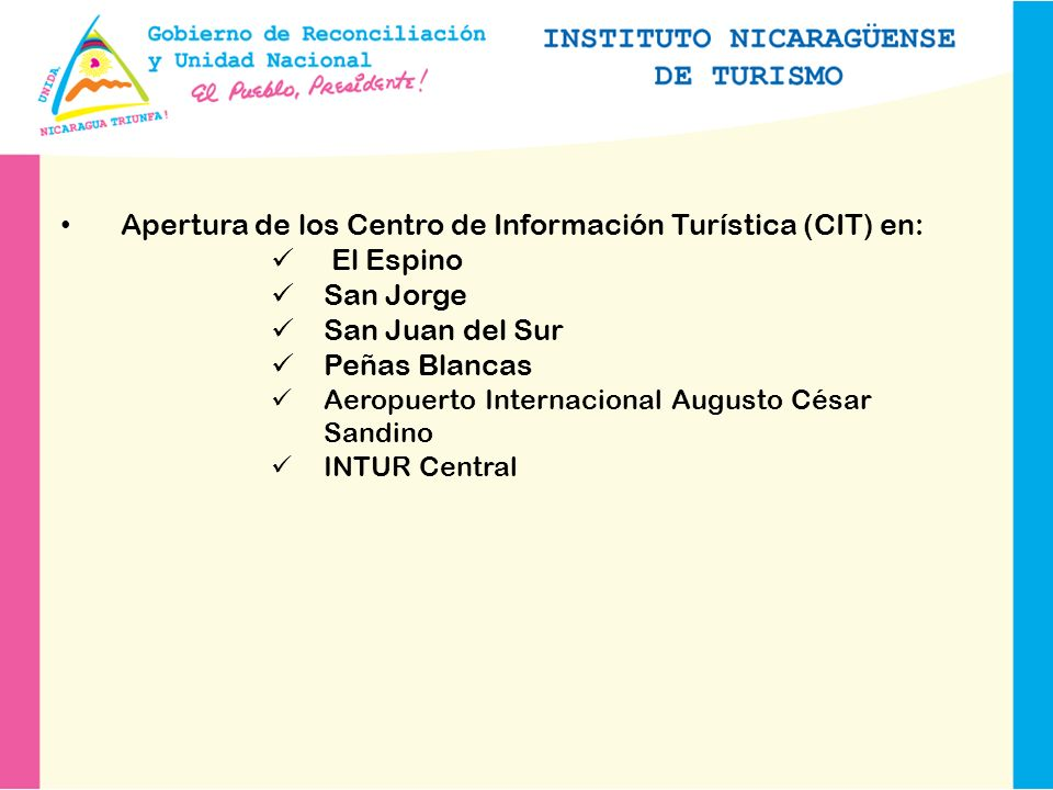 Apertura de los Centro de Información Turística (CIT) en: El Espino