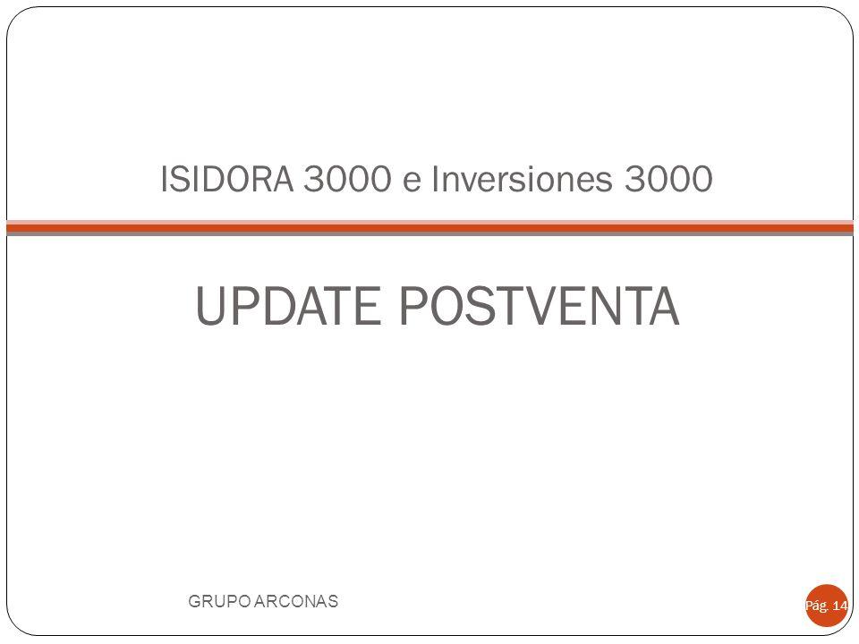 ISIDORA 3000 e Inversiones 3000 UPDATE POSTVENTA