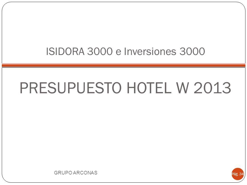 ISIDORA 3000 e Inversiones 3000 PRESUPUESTO HOTEL W 2013