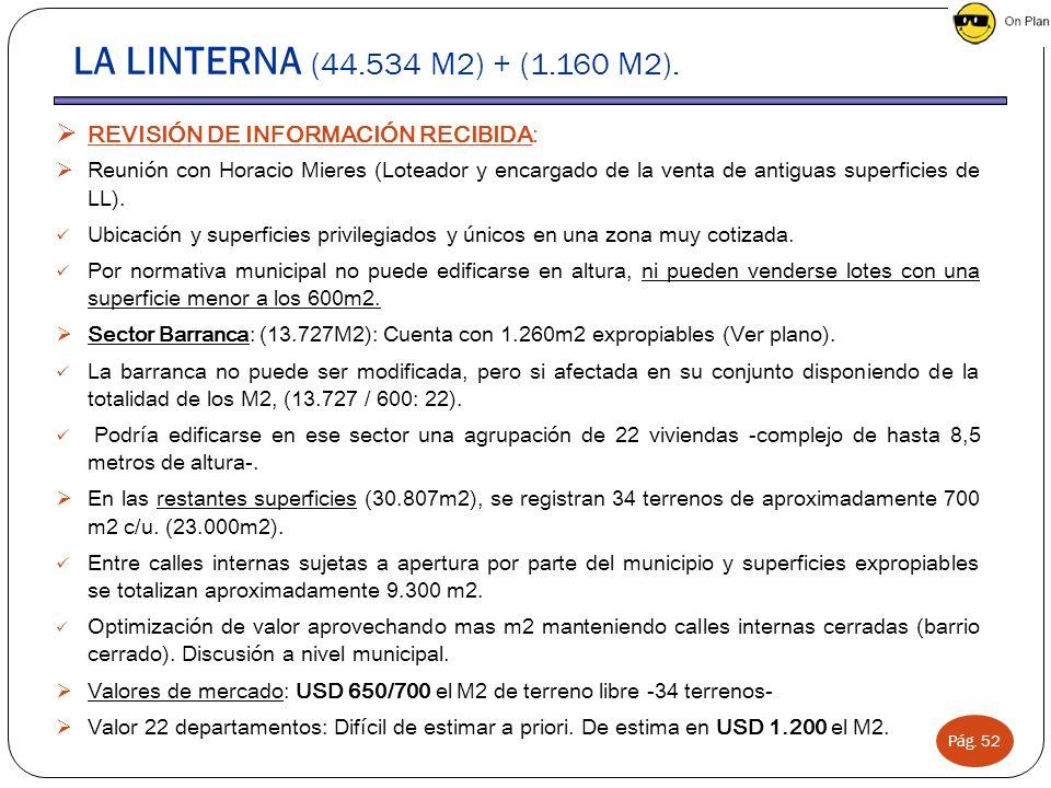 LA LINTERNA (44.534 M2) + (1.160 M2). REVISIÓN DE INFORMACIÓN RECIBIDA:
