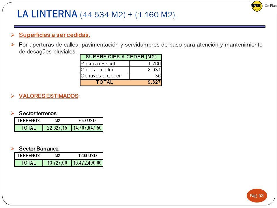 LA LINTERNA (44.534 M2) + (1.160 M2). Superficies a ser cedidas.