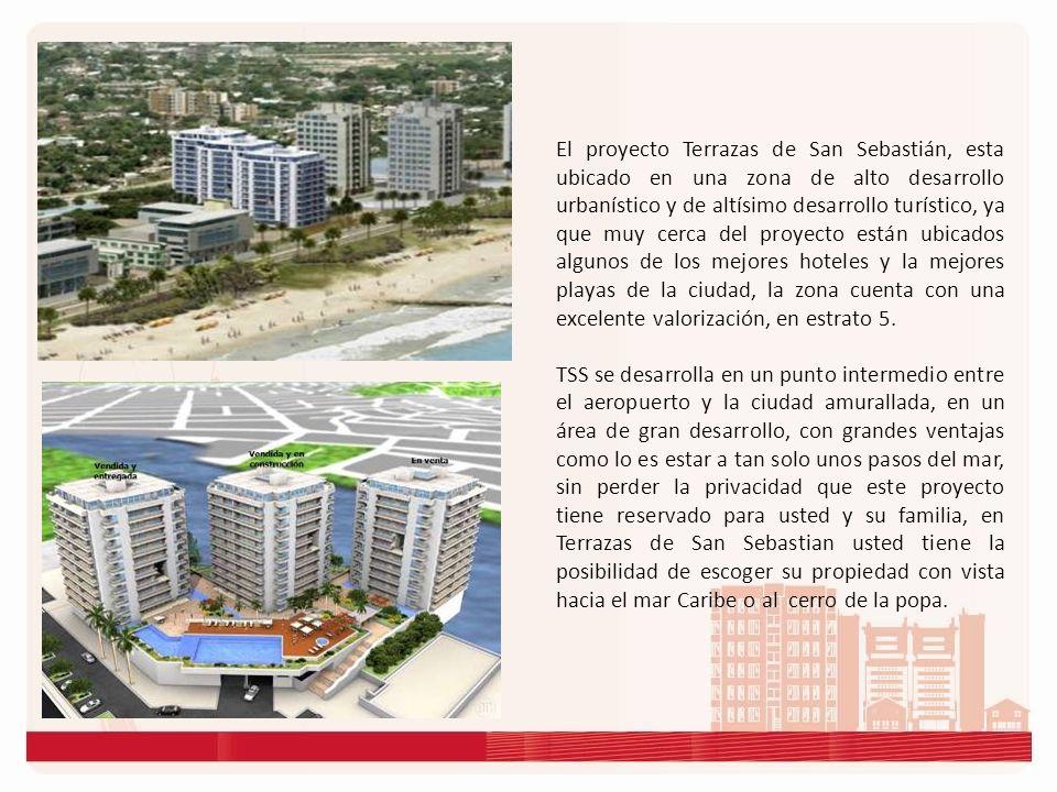 El proyecto Terrazas de San Sebastián, esta ubicado en una zona de alto desarrollo urbanístico y de altísimo desarrollo turístico, ya que muy cerca del proyecto están ubicados algunos de los mejores hoteles y la mejores playas de la ciudad, la zona cuenta con una excelente valorización, en estrato 5.