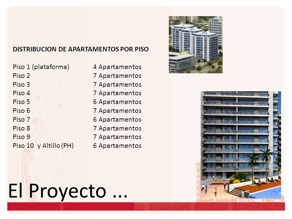 El Proyecto ... DISTRIBUCION DE APARTAMENTOS POR PISO