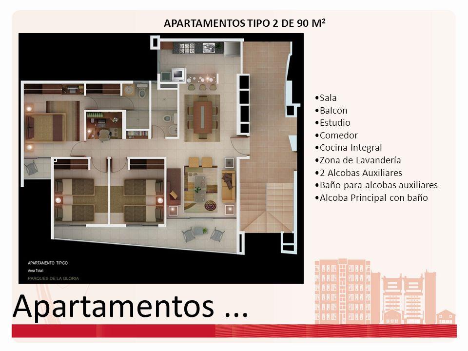 Apartamentos ... APARTAMENTOS TIPO 2 DE 90 M2 Sala Balcón Estudio