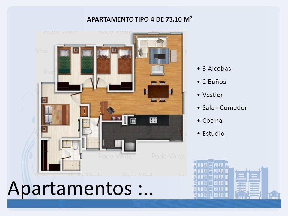 Apartamentos :.. APARTAMENTO TIPO 4 DE 73.10 M2 3 Alcobas 2 Baños