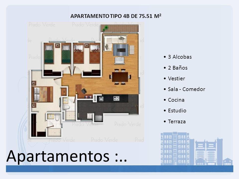 Apartamentos :.. APARTAMENTO TIPO 4B DE 75.51 M2 3 Alcobas 2 Baños
