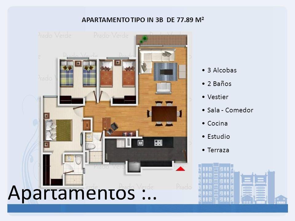 APARTAMENTO TIPO IN 3B DE 77.89 M2