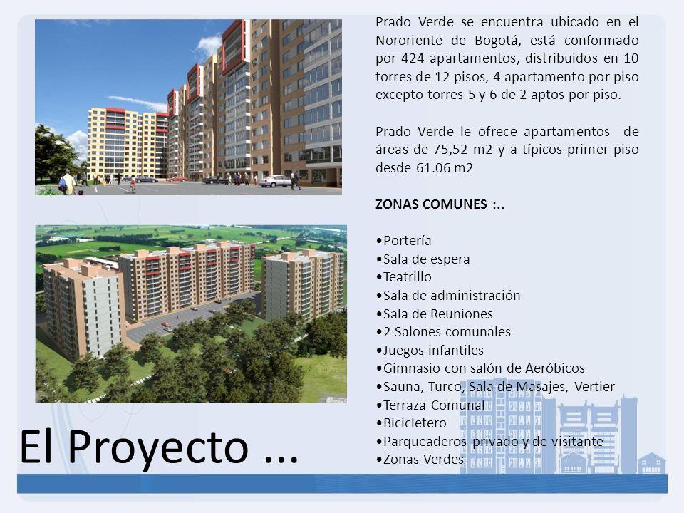 Prado Verde se encuentra ubicado en el Nororiente de Bogotá, está conformado por 424 apartamentos, distribuidos en 10 torres de 12 pisos, 4 apartamento por piso excepto torres 5 y 6 de 2 aptos por piso.