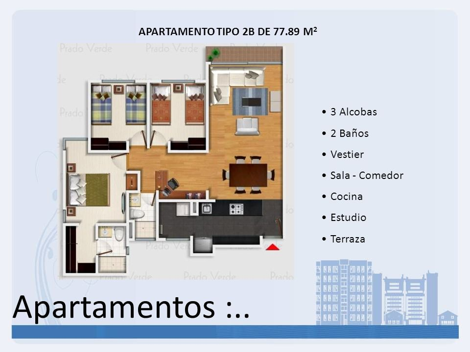 Apartamentos :.. APARTAMENTO TIPO 2B DE 77.89 M2 3 Alcobas 2 Baños