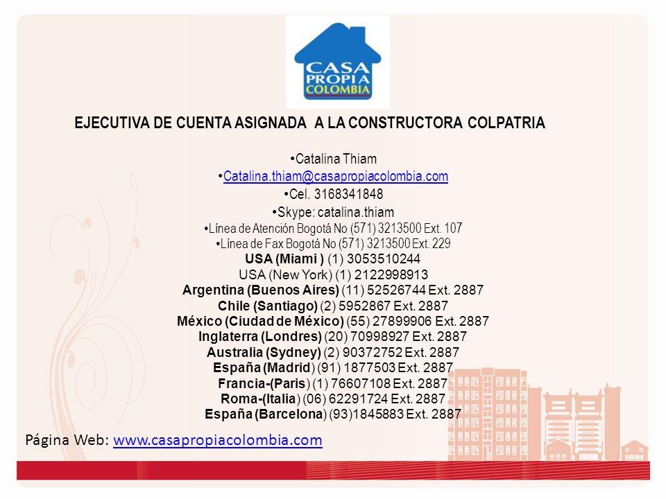 EJECUTIVA DE CUENTA ASIGNADA A LA CONSTRUCTORA COLPATRIA