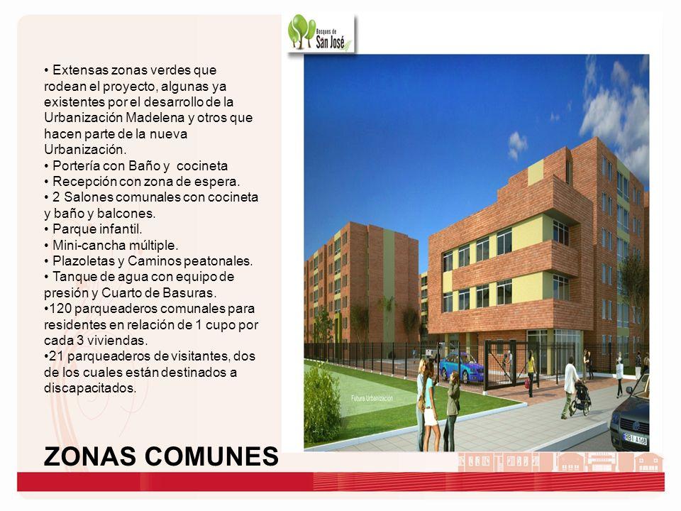 Extensas zonas verdes que rodean el proyecto, algunas ya existentes por el desarrollo de la Urbanización Madelena y otros que hacen parte de la nueva Urbanización.
