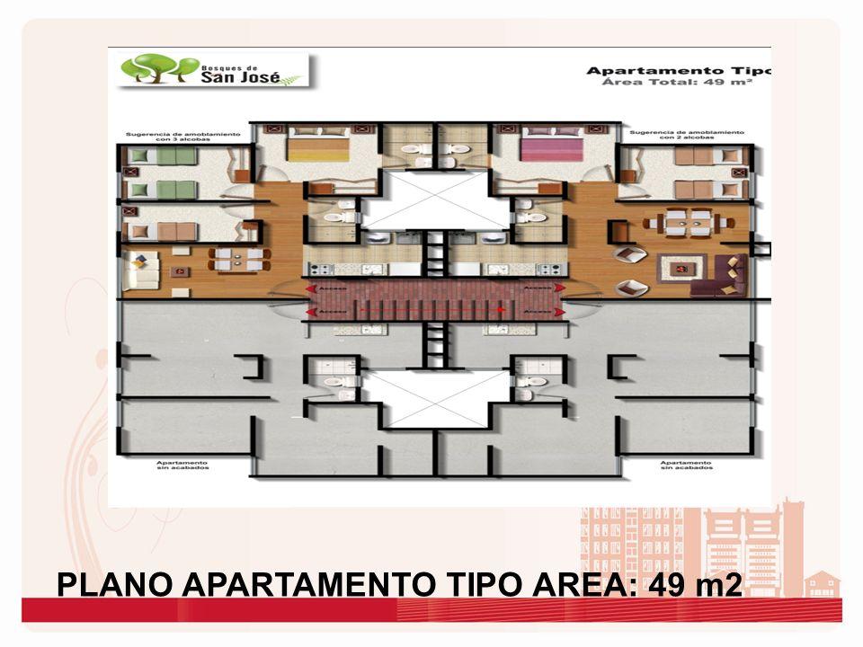 PLANO APARTAMENTO TIPO AREA: 49 m2