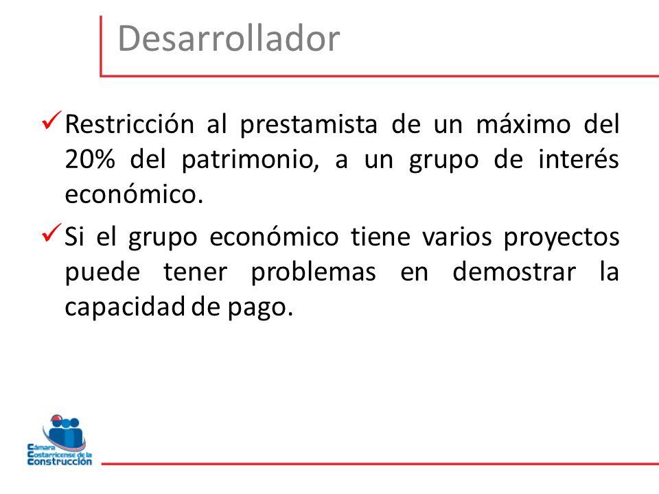 Desarrollador Restricción al prestamista de un máximo del 20% del patrimonio, a un grupo de interés económico.