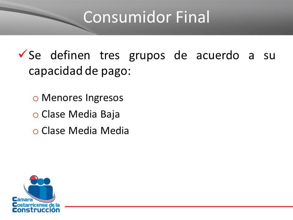 Consumidor Final Se definen tres grupos de acuerdo a su capacidad de pago: Menores Ingresos. Clase Media Baja.