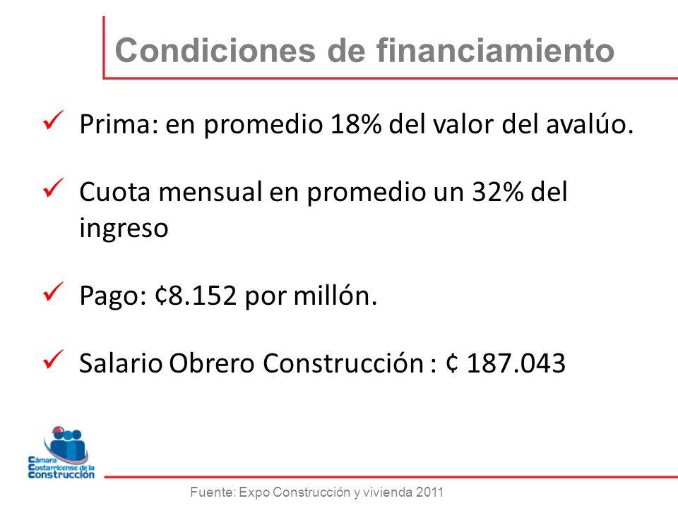 Condiciones de financiamiento