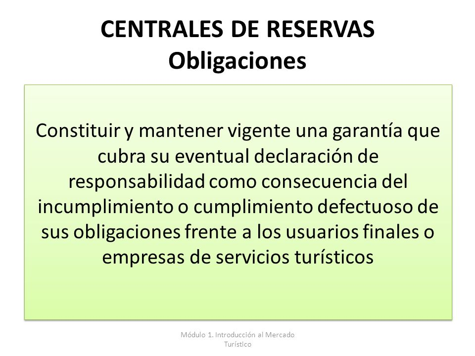 CENTRALES DE RESERVAS Obligaciones