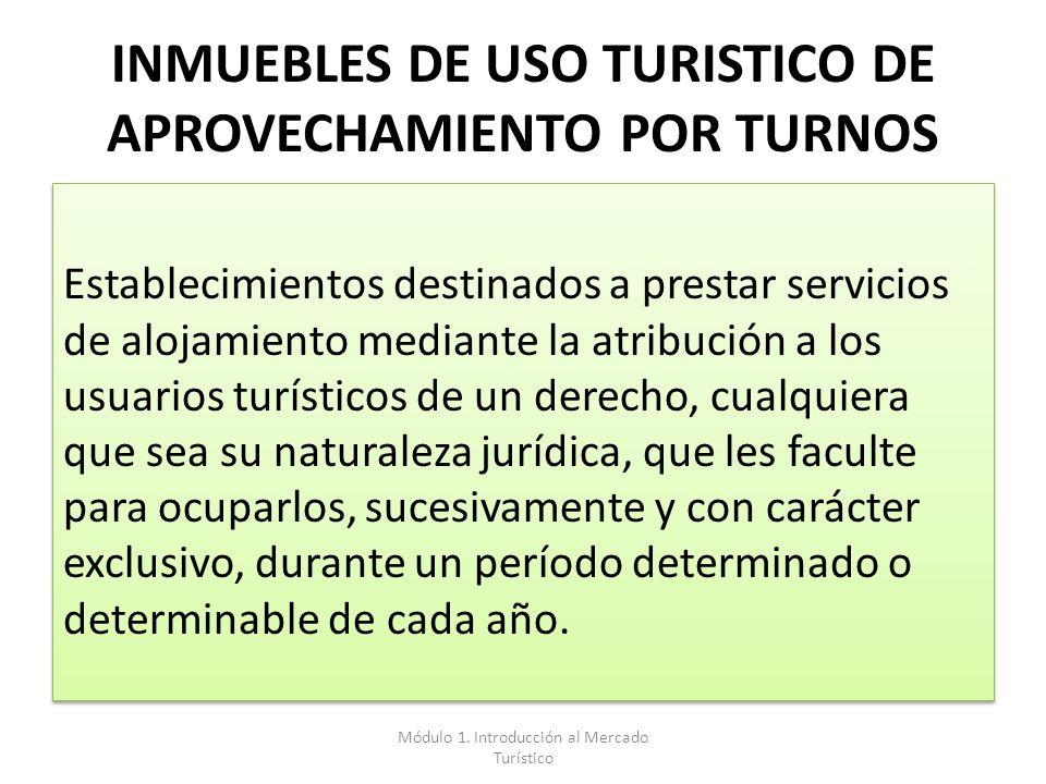 INMUEBLES DE USO TURISTICO DE APROVECHAMIENTO POR TURNOS