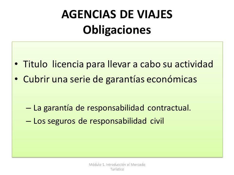 AGENCIAS DE VIAJES Obligaciones