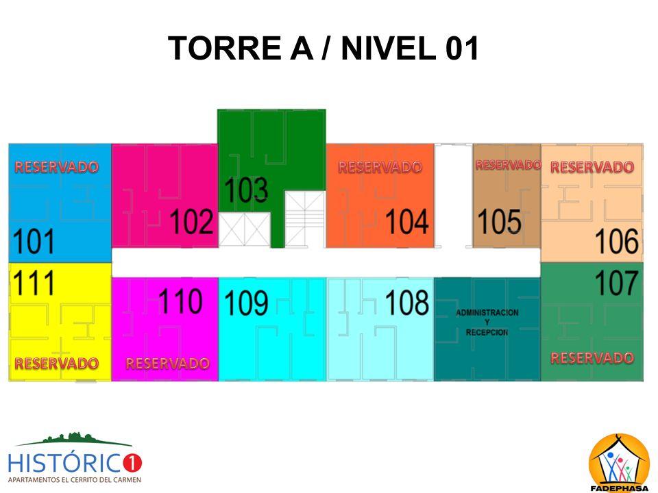 TORRE A / NIVEL 01 RESERVADO RESERVADO RESERVADO RESERVADO RESERVADO