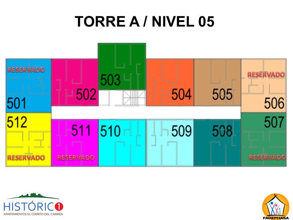 TORRE A / NIVEL 05 RESERVADO RESERVADO RESERVADO RESERVADO RESERVADO