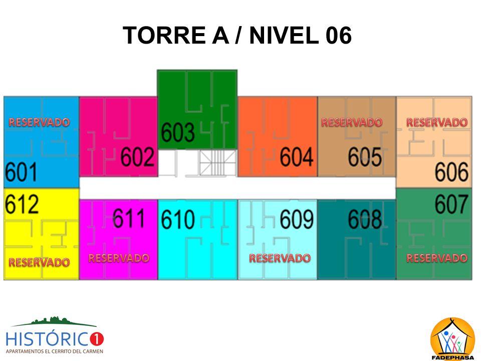 TORRE A / NIVEL 06 RESERVADO RESERVADO RESERVADO RESERVADO RESERVADO