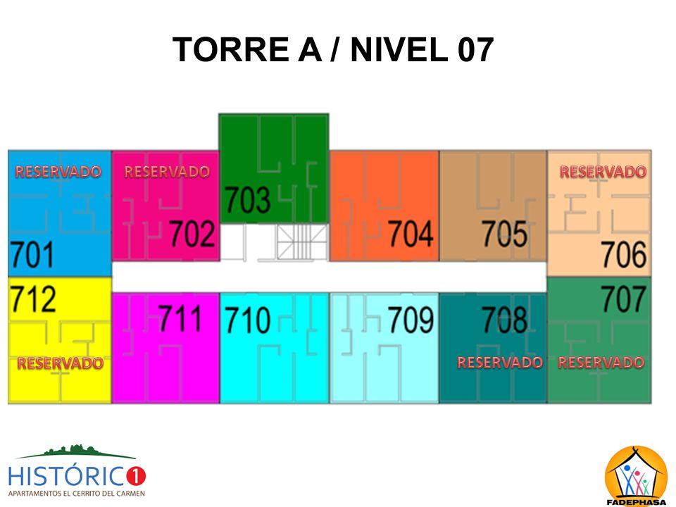 TORRE A / NIVEL 07 RESERVADO RESERVADO RESERVADO RESERVADO RESERVADO
